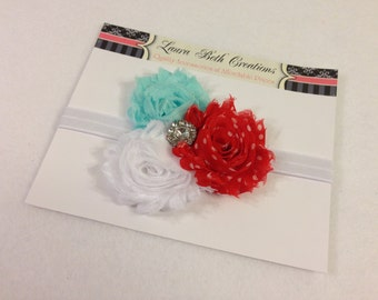 Shabby Chic Triple Rose Headband - Aqua, White, & Red Polka Dot - Baby Headband - Newborn Headband - Childrens Headband - Flower Headband