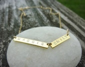 Double Name Necklace-Double Bar Necklace-Double Gold Bar Necklace-Roman Numeral Necklace-Gold Name Bar Necklace-Mothers Necklace-Momentusny