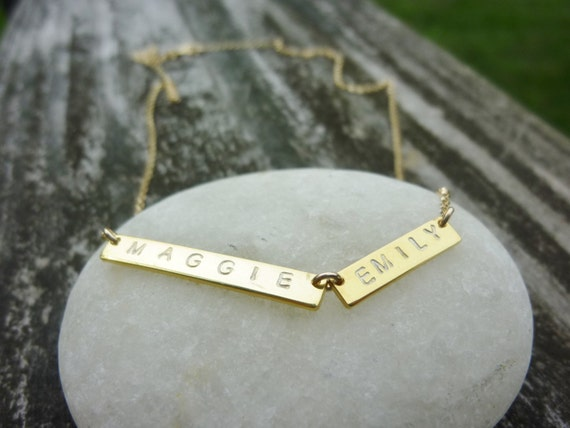 Bar Necklace, Personalized Name Plate Necklace,Name Bar Necklace-Double Gold Bar Necklace-Roman Numeral Necklace-Gold Name Bar Necklace