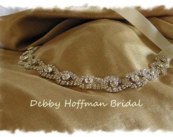 SALE ~ Rhinestone Bridal Headband, Wedding Headpiece, No. 4080HB,  Crystal Bridal Head Piece, Teardrop Ribbon Headband, Wedding Accessory