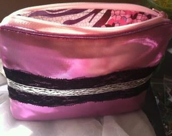 Metallic Pink and Black Lace Zipper Pouch // Metallic Fabric Zipper Pouch