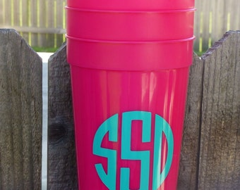 Set of FOUR - Personalized Hot Pink Stadium Cups - Plastic Cups