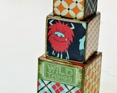 Decorative wooden blocks Silly monsters