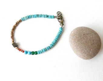 Symbolic and sacred blue turquoise beads bracelet ( sioux, wolf, blue, brass, sky blue, green, original, native ) 02