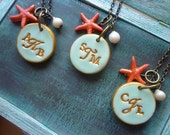 Beach Wedding Bridesmaids Necklaces- Monogram Necklaces - Aqua and Coral- Starfish and pearls -  Set of 4