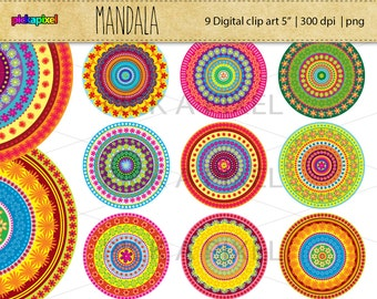 MANDALA - 9 digital clip art - Personal and Commercial Use