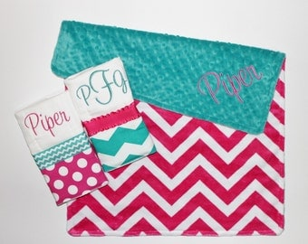 Personalized DOUBLE MINKY CHEVRON Baby Girl Blanket Plus 2 Burp Cloths - Pink and Teal