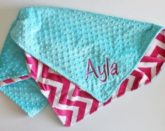 Personalized PINK CHEVRON MINKY Baby Stroller Blanket or Lovey with Turquoise Dot MInky