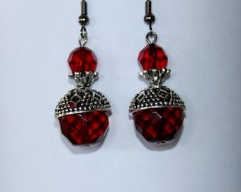 Earrings Chandelier,crystal earrings , red earrings,antique,crystal earrings,antique earrings
