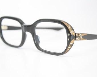 Small Black Rhinestone cat eye glasses vintage cateye frames eyeglasses