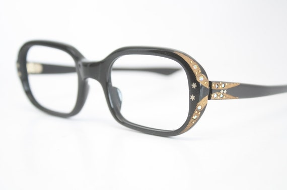 Small Frame Cateye Glasses : Small Black Rhinestone cat eye glasses vintage cateye frames