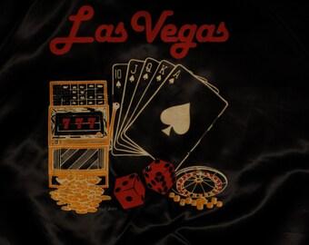 mens vintage Las Vegas satin baseball jacket