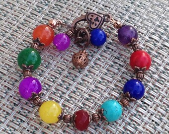 SALE_Rainbow chakra bracelet. Multi stone, multi color, genuine copper, vintage antique style, beaded, handmade, natural gemstones