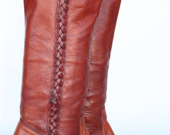 Gorgeous vintage Frye boho leather braided campus riding boots 7 B Nice
