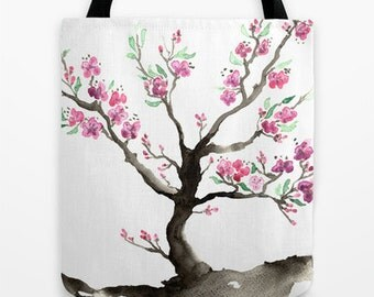 Art Tote Bag - Cherry Blossom Sakura Watercolor Painting - Shopping Bag