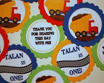 Dump Truck Favor Tags - Set of 12 - More Available