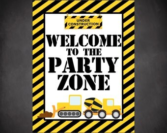 printable construction birthday party sign--INSTANT DOWNLOAD