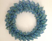 MOVING SALE-Frosted Sea Glass Blend French Beaded Decorative Wreath (Small)