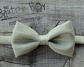 Sage green pinstripe polyester little boy bow tie - photo prop, wedding, ring bearer, accessory