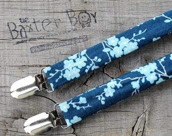 Blue Cherry Blossom little boy matching suspenders - photo prop, wedding, ring bearer, accessory