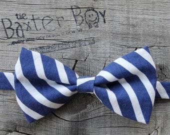 Navy & White diagonal stripe little boy bow tie, pre-tied - photo prop, wedding, ring bearer, accessory, birthday boy