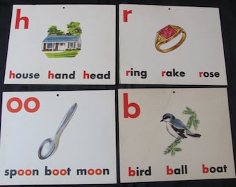 Vintage Old School Large Flash Card - Vowels Consonants - Choice of House Spoon Bird Ring