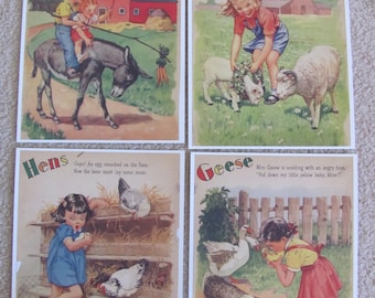 Childrens Book Page Print  - Illustrated by Florence Sarah Winship - Farm - Hens Geese Donkey Lamb