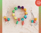 Wrap/Bangle, Multicolor Wood Beads, Including Purple, Green, Yellow, Pink, Orange Peach Bracelet, Silver Balls, And/Or Dangle Heart Earrings