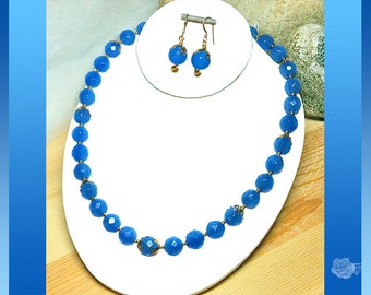 """18"""" Necklace 12mm Faceted Blue Chalcedony Round Beads Gold Filigree Accents Gold Magnetic Clasp And/Or Matching 14K Gold-Filled Earrings"""