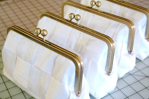 Custom wedding silk clutch, woven fabric bridesmaid bag, your wedding colors, personalised bridesmaid gift