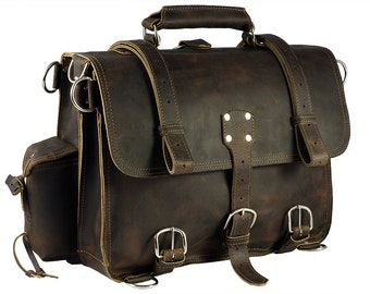 Made in USA Leather Briefcase Messenger Bag Backpack MEDIUM - Rich Chocolate Brown Distressed, Rugged