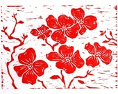 Dogwood flower block print 5x7 original red linocut home decor sfa
