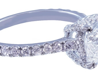 18k white gold cushion cut diamond engagement ring art deco 1.65ct