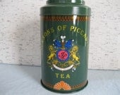 English Tea / Jackson of Piccadilly Tea Tin /  Tea Box With Lid / Vintage Tea Tin