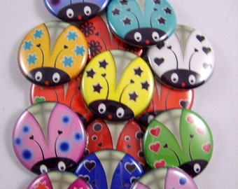 """Lady Bug Magnets, Lady Bug Pins, Lady Party Favors, 1"""" Flat, Hollow Bk, Cabochons, 12 ct"""