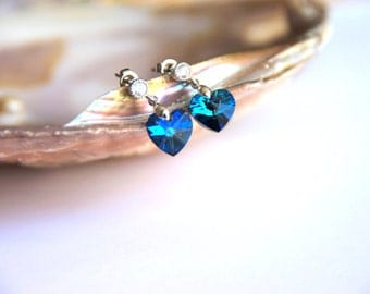 Earrings rhodium plated hooks with blue  hearth swarovski crystal, and zircon, wedding, bridesmaid, christmas, valentine's, mother's day.