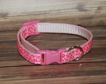 Hot Pink Leopard Print Cat/Kitten Collar- Adjustable & Breakaway