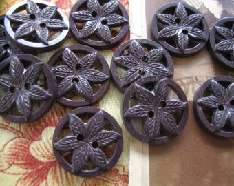 Vintage Buttons...chocolate brown leaves and flowers...new old stock...1940....lot of 15