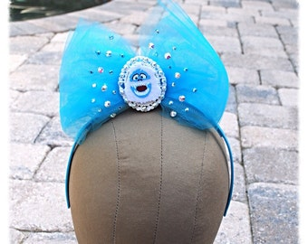 Bumble Blue Tulle Swarovski Crystal Bow Headband