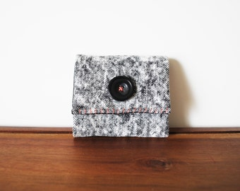 CLEARANCE--Acid Wash Denim Business Card Holder with Black Button