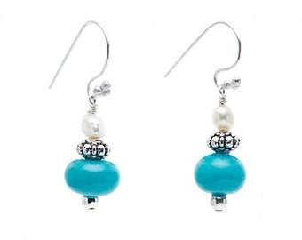 Pearl in Paradise - handmade women's turquoise rondelles & pearl earrings / every order supports JDRF research to cure type 1 diabetes