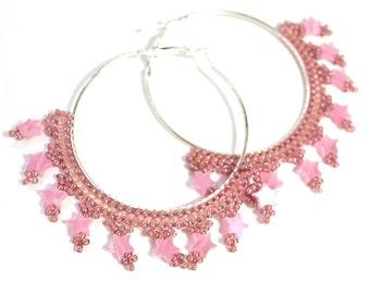 Rock Star Pink Hoop Earrings - Dangling Chandelier Earrings - Clearance Sale