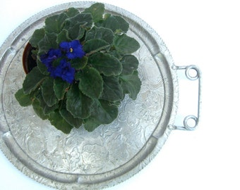 Vintage Aluminum Handled Tray, Hand Finished Embossed, Strawberries Flowers, Retro Rustic Industrial Decor