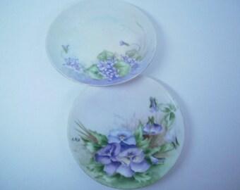 2 Shabby Old Floral Tea Plates, Hand Painted Purple Flowers, Tea Time Plates