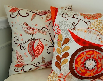 Decorative Pillow Covers, Set of 2 Suzani Throw Pillows, Orange Red Pillow Covers, 16x16 Inch