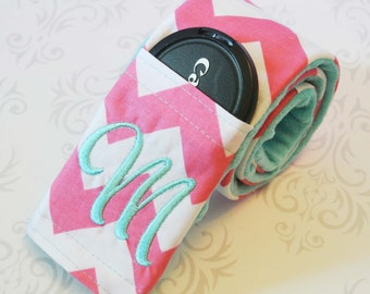 SALE!! Camera Strap Cover with Lens Cap Pocket - Padded Minky - Pink and White Chevron with Aqua - CLEARANCE