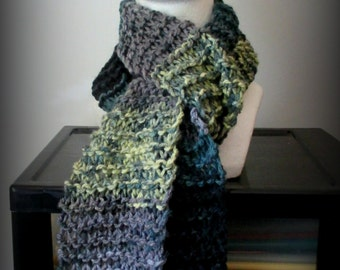 Black deep green gray hand knit acrylic scarf