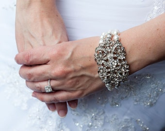 Bridal Bracelet Pearl Bracelet Great Gatsby Art Deco Rhinestone Swarovski Pearls 3 strands Elegant wedding jewelry or Mother of the Bride
