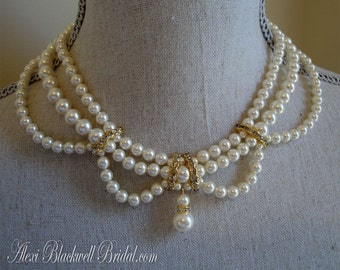 Complete Wedding Jewelry Set Pearl Necklace Bracelet Earrings in a Vintage Victorian style - 3 multi strands Swarovski pearls bridal sets