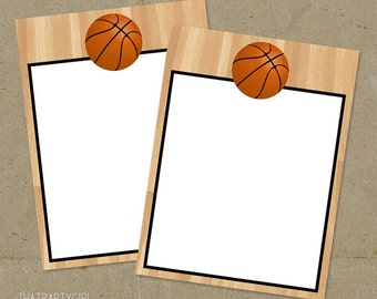 Basketball Birthday Party Thank You Notes - Printable DIY - INSTANT DOWNLOAD